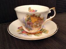 VINTAGE REGENCY BONE CHINA ENGLAND SOMERSET COTTAGE TEACUP SAUCER GOLD GILT