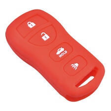 Fits NISSAN New Skin Jacket Silicone Remote Key Fob Cover Bag Holder-Red