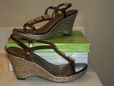 "New Madeline Stuart 10M Bronze ""Willa"" Slingback Weave Wedge Sandals 4"" Heel NIB"