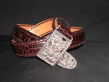 BRIGHTON Moc Croc Brown Leather Belt Dogwood Floral Silver Buckle ~ Size M 30