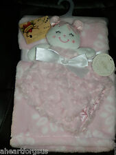 KYLE DEENA BABY BLANKET & SECURITY GIRL ROSETTES PINK PLUSH LOT 2 COMBO FLOWERS