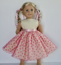 "New Doll Clothes Fit 18"" American Girl Doll Handmade Valentine's Day Dress"