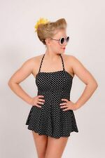 Vintage rockabilly pin-up retro black & white polkadot skirt swimsuit 2 in 1