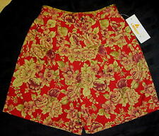NWT LIZ CLAIBORNE LIZSPORT SHORTS Burgundy Red Tan Olive Green Floral MISS 8