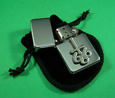 666 INVERTED CROSS Petrol Lighter in Pouch Free UK Post Goth Devil Pagan Evil