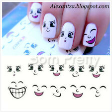Sticker Water decal Nail Art autocollant transfer Sourire Visage Ongle décor