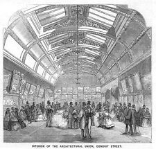 LONDON Interior of the Architectural Union in Conduit Street Antique Print 1859