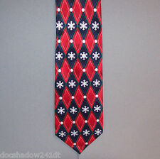Hallmark's Holiday Traditions SNOWFLAKE in DIAMOND SHAPES Red Silk Neck Tie #704