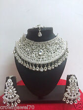 New Indian Bollywood Designer Rhodium Plated Fashion Bridal Jewelry Necklace Set