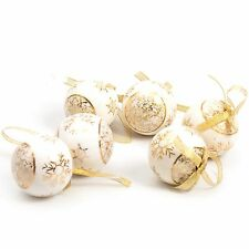 6 Pc Luxury Printed 8cm Christmas Tree Baubles Decoration Set - Gold Snowflake