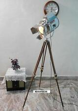 VINTAGE STAGE SEARCHLIGHT SISUM WOODEN TRIPOD STAND SEARCH LIGHT STUDIO  LAMP