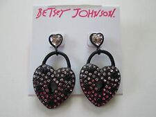 NWT Auth Betsey Johnson Prisoner of Love Rhinestone Heart Lock Dangle Earrings