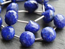 HAND FACETED LAPIS ONION DROPS, approx 10mm, 15 beads