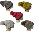 Mens Ladies Chunky Woolly Knitted Two Colour Pom Pom Beanie Hat Unisex One Size