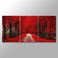 No Frame Black White  3 Panels Red Forest Wall  Art  Canvas Prints
