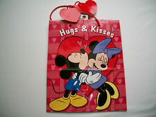 "Disney Mickey & Minnie Mouse ""Hugs & Kisses"" Quality Gift Bag 9 1/2"" Tall NEW"