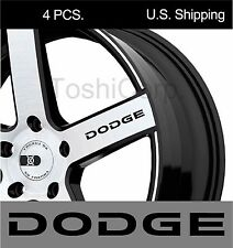 4 DODGE sticker decals Wheels Door Handle Mirror Challenger Charger BLACK