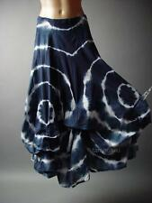 Tie-Dye Gypsy Boho Hippie Indigo Bustle Pick Up Long Petticoat 78 ac Skirt XS