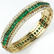 Trifari Philippe Gold Pave Gallery Invisibly Set Emerald Bangle Bracelet