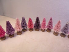 5 Pink Lavender Purple Rose MINI Trees Shabby Sisal Bottle Brush Chic Christmas