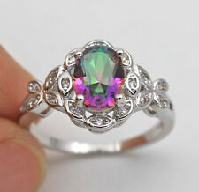 18K White Gold Filled - Oval MYSTICAL Topaz Butterfly Cocktail Women Ring Size 9