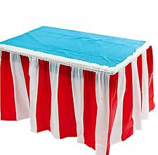 CARNIVAL Circus Big Top Pleated Red White Striped Table cover skirt Decoration