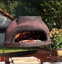 Outdoor Wood Fired Pizza Oven, Portable w/Grill Stand, Handmade Brown Terracotta