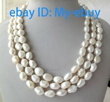 3 Strands White Baroque Freshwater Pearl Necklace Shell Flower Clasp