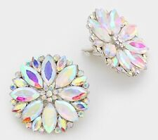 "1.5"" Big Clip On Stud Aurora Borealis Ab Silver Clear Pageant Crystal Earrings"
