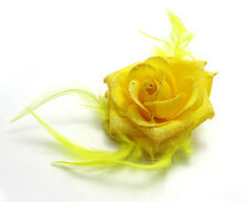 1X Rose Flower Feather Prom Wrist Corsage Hair Clip Fascinator Pin Brooch Yellow