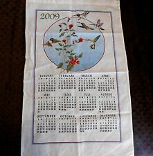 Hummingbirds Linen Calendar Kitchen Hand Tea Towel Wall Hanging 2009 GUC Stevens