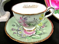 ROYAL STAFFORD TEA CUP AND SAUCER PALE GREEN & ROSE PATTERN TEACUP PAINTED