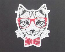 Cat in Glasses Vinyl Sticker - iPad iPhone Skateboard Folder Neko Kawaii