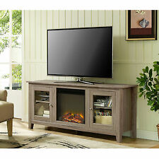 New 58 Inch Wide Driftwood Finish Fireplace Tv Stand with Glass Doors