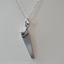 Saw Necklace - 925 Sterling Silver - Saw Charm Tool Handy Man Jewelry Hand Saw