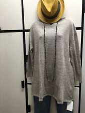 VERITECOEUR JAPAN FREE SIZE TEXTURED MOCHA BEIGE LINEN SPLIT V NECK TUNIC TOP