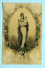 Dessin original préparatoire pour image religieuse 19ème Vierge à l'enfant