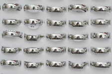 Fashion New 12pcs Wholesale Jewelry Lots Unisex Stainless Steel Simple Band Ring