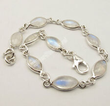 925 Silver RAINBOW MOONSTONE Cabochon Fashionable ADJUSTABLE Bracelet 7 7/8""