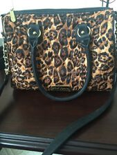 Betsey Johnson Leopard Purse Bag Shoulder Strap Gold Chain Heart Quilted