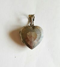 Vintage Estate Sterling Silver Puffy Heart Locket Pendant ~ 1""