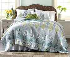 BLUE FLORAL 5pc FULL / QUEEN QUILT SET : PEACOCK GREEN BOMBAY EXOTIC BEDDING