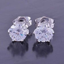 Classy 9K White Gold Filled CZ Mens Stud Earrings,No Allergy