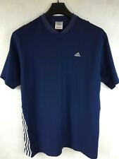 ADIDAS Men's Navy Blue Short Sleeve V-Neck 3 Stripes Athletic T Shirt Tee Size M