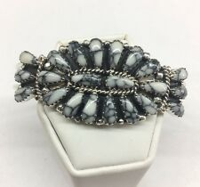 NativeAmerican Navajo Indian Sterling Silver White Buffalo Cluster Cuff Bracelet