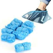 100 Disposable Shoe Covers Overshoes Plastic Protective Blue