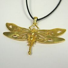 Celtic Dragonfly Pendant 14K Gold over Bronze Necklace USA Made Wedding Jewelry