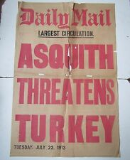 Old Original DAILY MAIL Newsstand Poster 1913 - Asquith Threatens Turkey