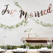 Appena sposato Bunting Rose Gold-Matrimonio Decorazione Striscione Bandierine sfondo
