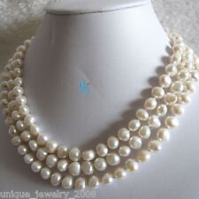 """52"""" 7-9mm White Baroque Freshwater Pearl Necklace"""